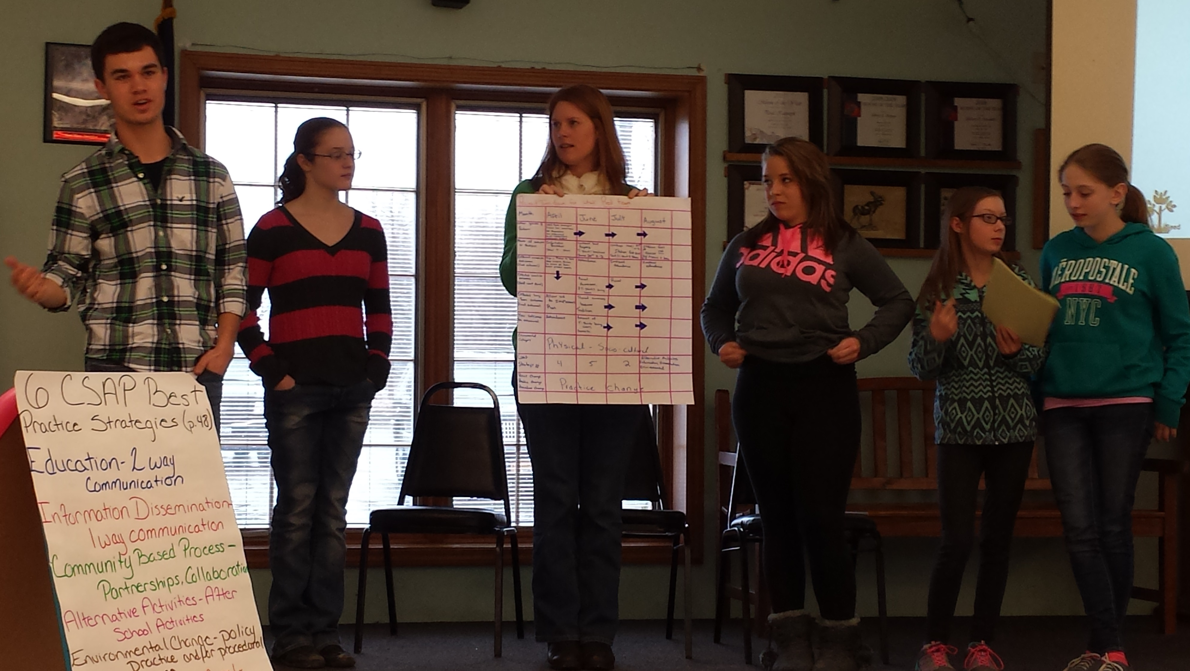 Students presenting underage drinking prevention program