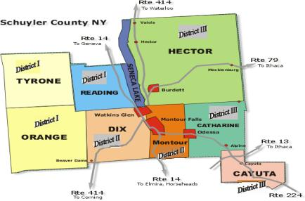 Map of Schuyler County districts