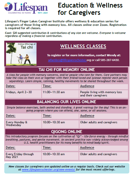 Life Span Wellness Class April- May 2021